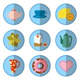 Symbolsuppsättning med te i plan stil Arkivbild