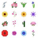 Symbolsuppsättning på en vit bakgrund Symbolsfloret Vektorsymbolsfloret royaltyfri illustrationer