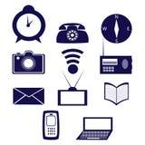 Symbolsuppsättning som består av beståndsdelar av kommunikationen och information Fotografering för Bildbyråer