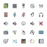 Symbolsuppsättning - stämma och ljudsignal översiktsslaglängd för full färg arkivbild