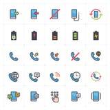 Symbolsuppsättning - telefon och kalla översiktsslaglängden för full färg arkivfoto