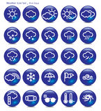 Symbolsuppsättning-väder-blått aqua Royaltyfria Foton