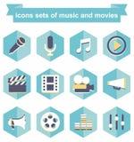 Symbolsuppsättningar av musik och filmer Arkivbild