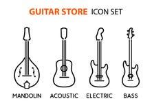Symbolsuppsättningen av akustiska elektriska gitarrer och mandolinen i linjen konst utformar stock illustrationer