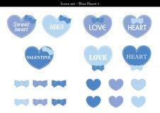 Symbolsuppsättningen av hjärtor med blått färgar tema - 1 Vektor Illustrationer