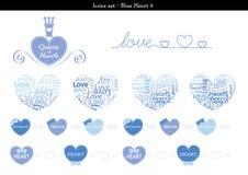Symbolsuppsättningen av hjärtor med blått färgar tema - 3 Stock Illustrationer