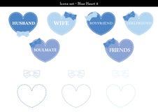 Symbolsuppsättningen av hjärtor med blått färgar tema - 2 Vektor Illustrationer