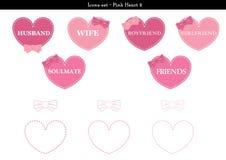 Symbolsuppsättningen av hjärtor med rosa färger färgar tema - 2 Royaltyfria Bilder