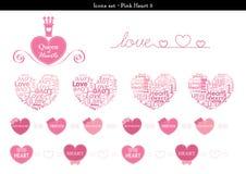 Symbolsuppsättningen av hjärtor med rosa färger färgar tema - 3 Vektor Illustrationer