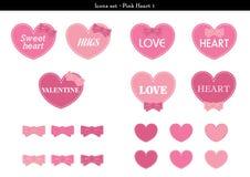 Symbolsuppsättningen av hjärtor med rosa färger färgar tema - 1 Vektor Illustrationer