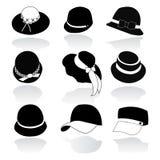 Symbolsuppsättning av den svarta konturn för hattar Royaltyfri Foto