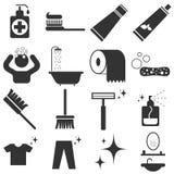 Symbolsuppsättning för personlig hygien Arkivfoton