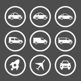 Symbolsuppsättning för plan bil Royaltyfri Bild