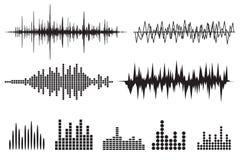 Symbolsuppsättning för solid våg Uppsättning för musiksoundwavesymboler Kvittera ljudsignal a Arkivbild