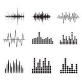 Symbolsuppsättning för solid våg Uppsättning för musiksoundwavesymboler Kvittera ljudsignal a Royaltyfri Foto