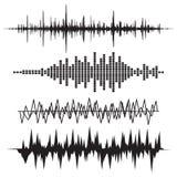 Symbolsuppsättning för solid våg Uppsättning för musiksoundwavesymboler Kvittera ljudsignal a Arkivfoton