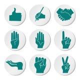 Symbolsuppsättning med händer Arkivbild