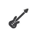 Symbolsvektor för elektrisk gitarr, fyllt plant tecken, fast pictogram som isoleras på vit vektor illustrationer