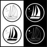symbolsvektoryacht royaltyfri illustrationer