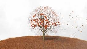 Symbolu elektryczny samochód na drzewie, spada opuszcza ilustracji