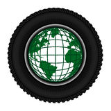 Symbolu koła opona i planety ziemia Obrazy Stock