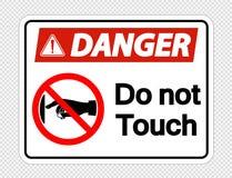 Symbolu niebezpieczeństwo no dotyka szyldowej etykietki na przejrzystym tle, Wektorowy llustration ilustracja wektor
