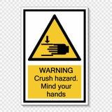 symbolu ostrzeżenia przyduszenia zagrożenie Pamięta twój ręka znaka na przejrzystym tle ilustracja wektor