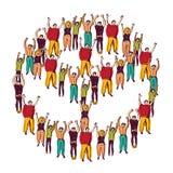Symbolu pokoju tłum szczęśliwy Obraz Stock