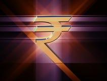 Symbolvaluta av den indiska rupien stock illustrationer