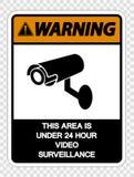 symbolvarning detta område är under 24 videopd bevakningtecken för timme på genomskinlig bakgrund stock illustrationer
