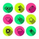 Symbolvektor-Ikonensatz der Party, des Punks, des Luxus und des Zaubers unterschiedlicher Stockfoto