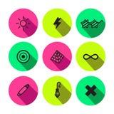 Symbolvektor-Ikonensatz der Party, des Punks und des Zaubers unterschiedlicher Lizenzfreies Stockbild