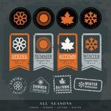 Symbolvektor-Stempelaufkleber mit vier Jahreszeiten Lizenzfreies Stockbild