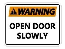 symbolWarning väggtecken för öppen dörr långsamt på vit bakgrund royaltyfri illustrationer