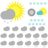 Symbolwetter: Schneeflocken, Sonne und Wolken Stockfotografie