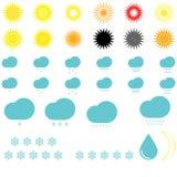 Symbolwetter: Sonnen, Wolken, Schneeflocken und Tropfen lizenzfreie abbildung
