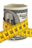 Symbolwirtschaftlichkeitpaket mit Dollarschein und Band Lizenzfreie Stockbilder