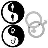 symbolyang för kvinnlig male yin Arkivfoto