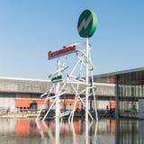 Symbool bij de ingang van de handelsbeurs van Milaan, Italië Stock Afbeelding