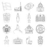 Symbool, Denemarken, gebouwen en ander Webpictogram in overzichtsstijl Ontwerp, geschiedenis, toerismepictogrammen in vastgesteld royalty-vrije illustratie