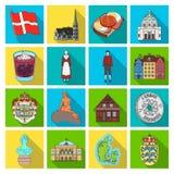 Symbool, Denemarken, gebouwen en ander Webpictogram in vlakke stijl Ontwerp, geschiedenis, toerismepictogrammen in vastgestelde i Stock Afbeeldingen