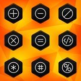 Symbool. Hexagonale die pictogrammen op abstracte oranje bac worden geplaatst Stock Fotografie