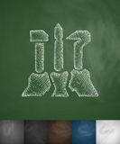 Symbool van arbeiders, landbouwers en intellectuelenpictogram Hand getrokken vectorillustratie Stock Foto's