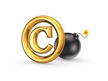 Symbool van auteursrecht en zwarte bom. Royalty-vrije Stock Afbeelding