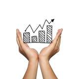Symbool van bedrijfsgrafiek groeiende tendens op mensenhand Royalty-vrije Stock Afbeelding