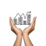 Symbool van bedrijfsgrafiek groeiende tendens op mensenhand Stock Foto