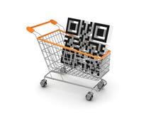 Symbool van code QR in een het winkelen karretje. Stock Afbeeldingen