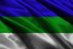 Symbool van de de vlag 3D illustratie van de Republiek van de Komi-Republiek De vlag van de Komi-Republiek Stock Afbeelding