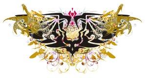 Symbool van de Grunge het dubbele adelaar met gouden draken Royalty-vrije Stock Afbeeldingen