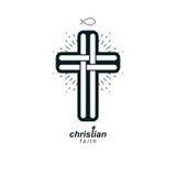 Symbool van de het geloofs vectorgodsdienst van Christian Cross het ware, Christendom royalty-vrije illustratie